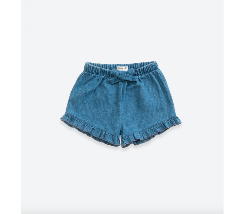 Denim shorts with decorative ribbon | Demim blue