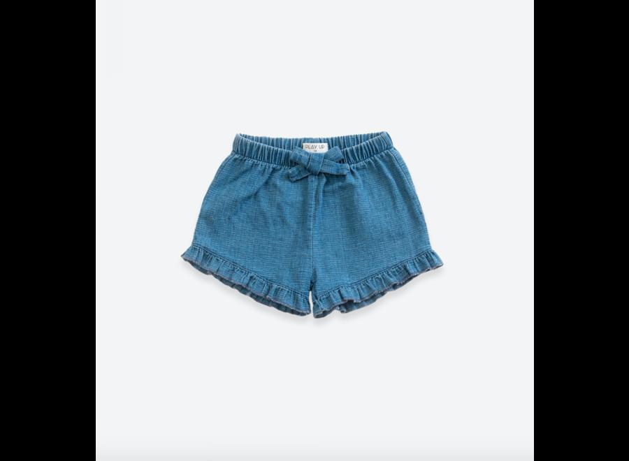 Denim shorts with decorative ribbon | Demim blue
