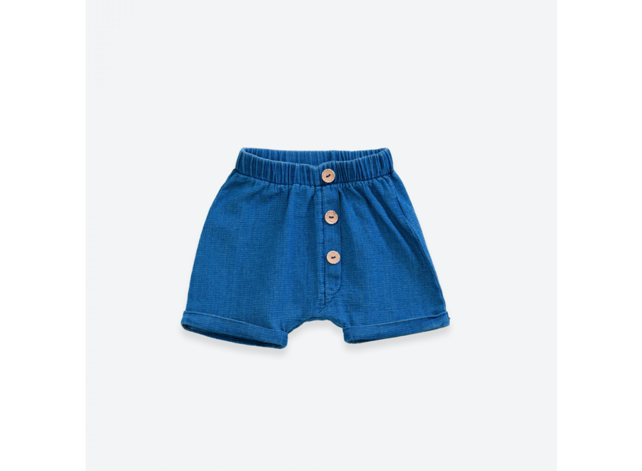 Denim shorts with buttons | Denim blue
