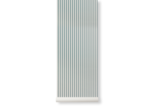 Ferm Living Thin Lines Wallpaper -DustyBlue/OffWhite