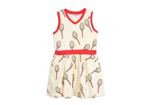 Mini Rodini Tennis aop tank dress Offwhite
