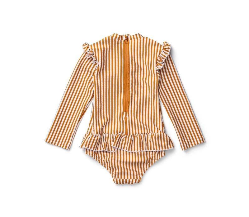 Sille Swim Jumpsuit - Y/D stripe: Mustard/white