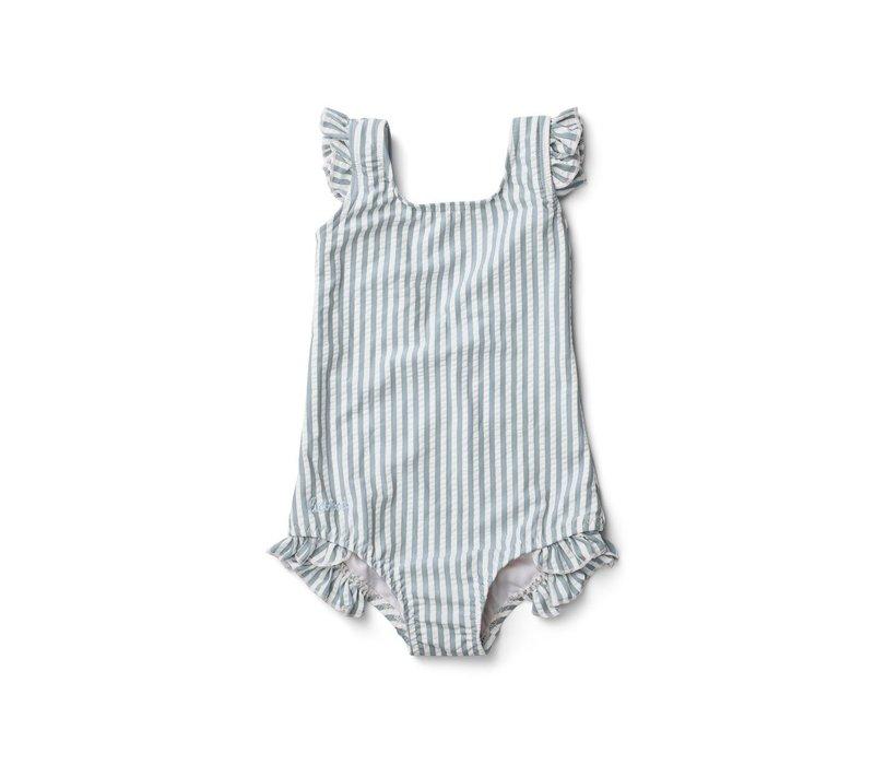 Tanna Swimsuit - Y/D stripe: Sea blue/white