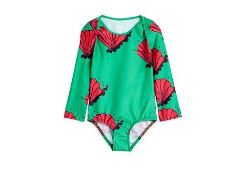 Mini Rodini Shell overlap ls swimsuit Green