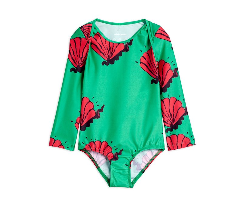 Shell overlap ls swimsuit Green