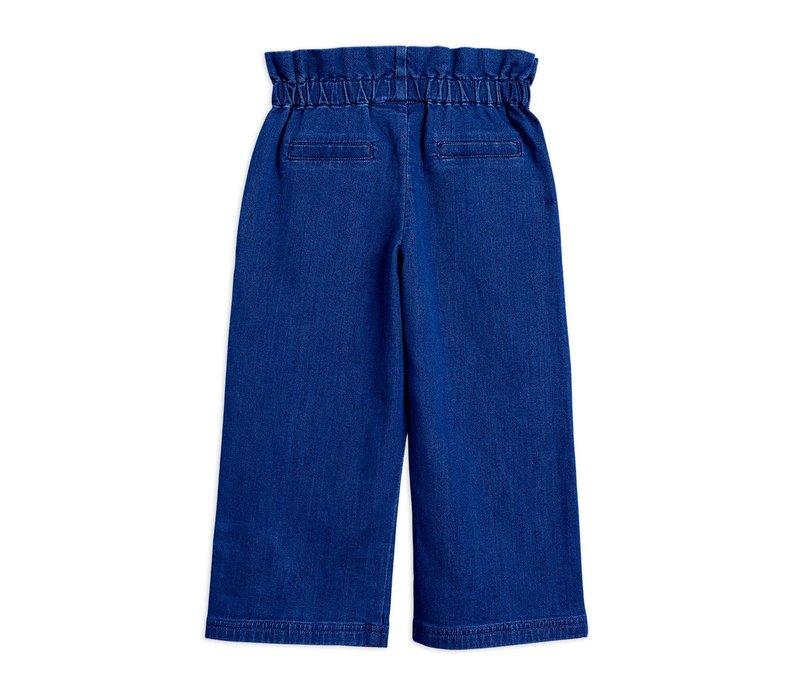 Denim paper bag trousers Blue