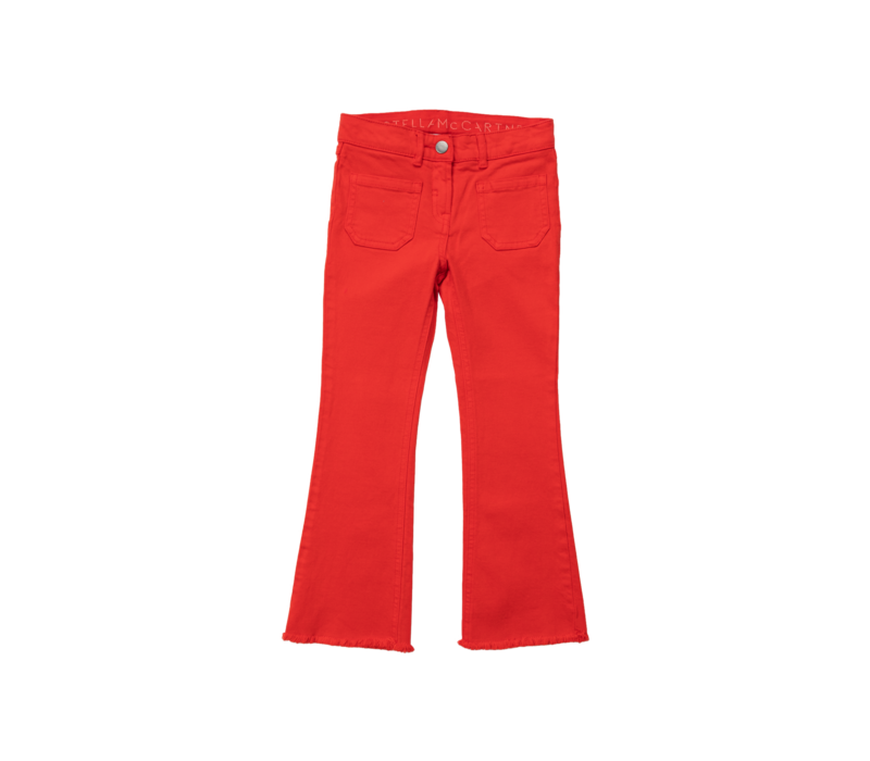 Flare Denim Trs W/Pockets Red