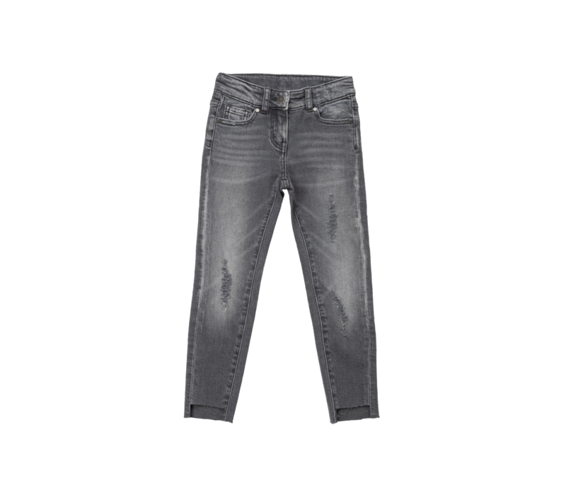 Denim Trs W/Destroyed Knee Grey Denim