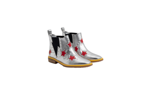Stella McCartney Kids Booties W/Inserted Red Stars Silver