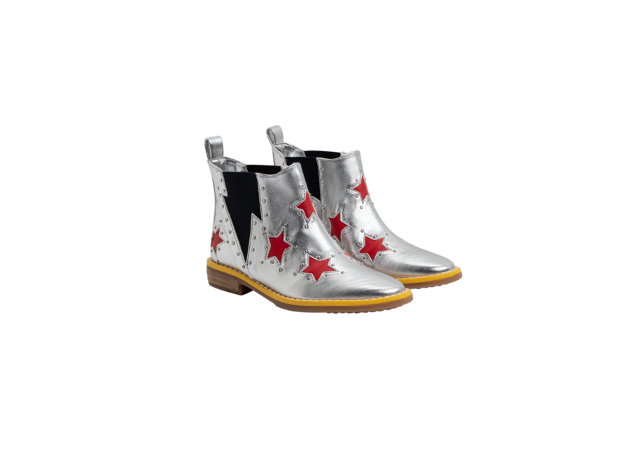 Booties W/Inserted Red Stars Silver