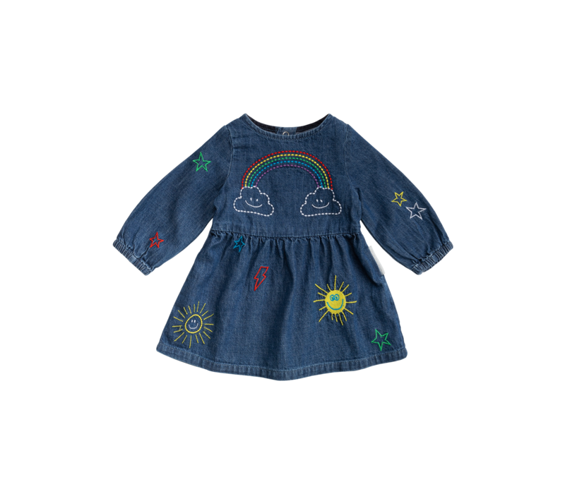 Chambray Dress W/Weather Emb Denim