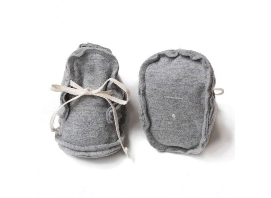 Baby Raw Edged Booties Grey Melange