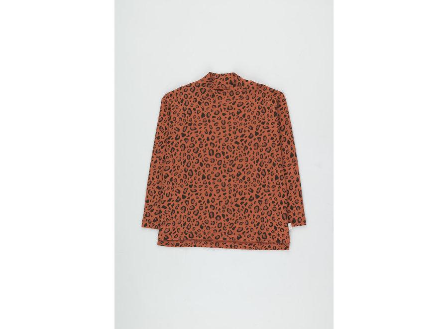Animal Print Mockneck Tee sienna/dark brown