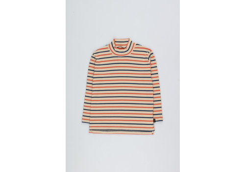 Tiny Cottons Stripes Mockneck Tee cappuccino/light navy/red