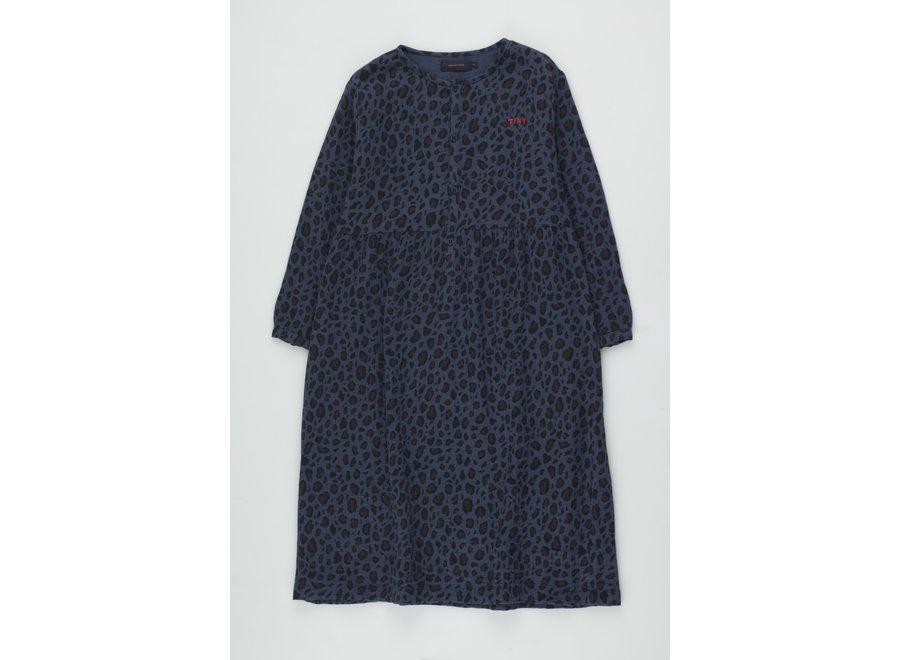 Animal Print Dress light navy/dark brown