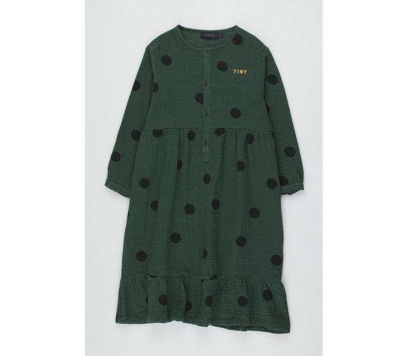 Big Dots Dress dark green/black