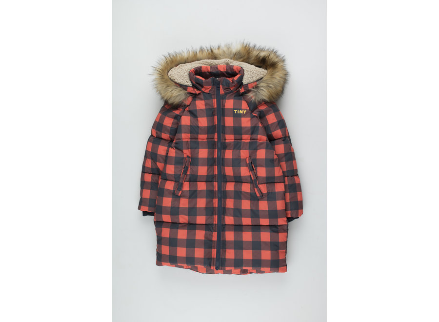 Check Padded Jacket navy/red