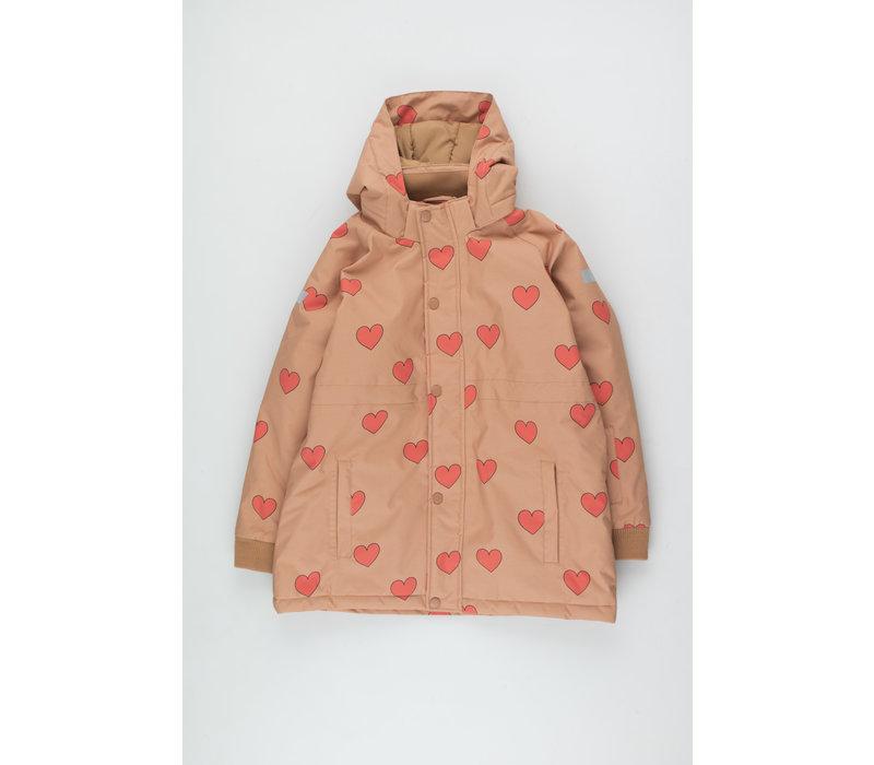 Hearts Snow Jacket tan/red