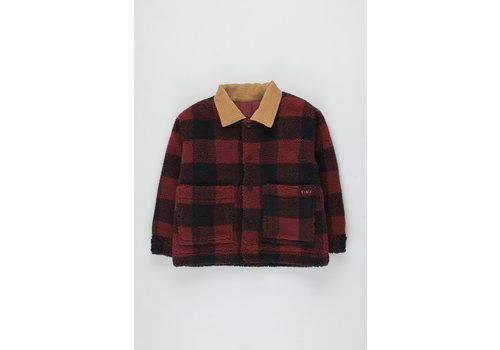 Tiny Cottons Check Sherpa Jacket burgundy/navy