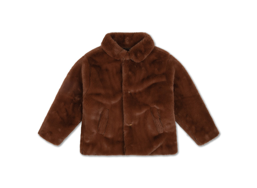 Boxy Collar Coat Warm Chestnut