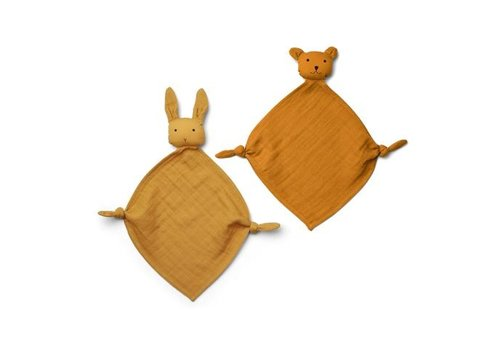 Liewood Yoko mini cuddle cloth 2-pack Yellow mix