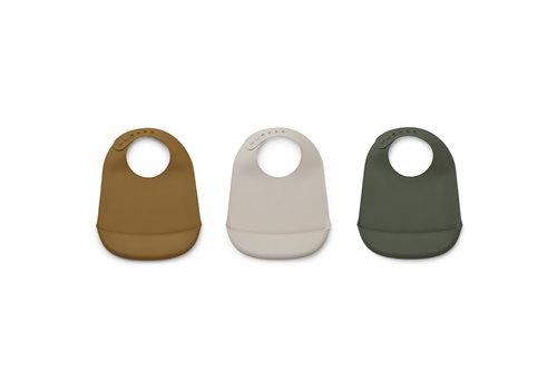 Liewood Maru silicone bib - 3 pack Hunter green multi mix
