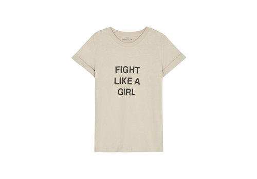 Designers Remix Girls Stanley Fight Tee Printed T-shirt with turn-up on sleeves Beige