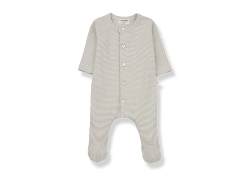 1 + More in the Family Delphine jumpsuit w/feet Ecru