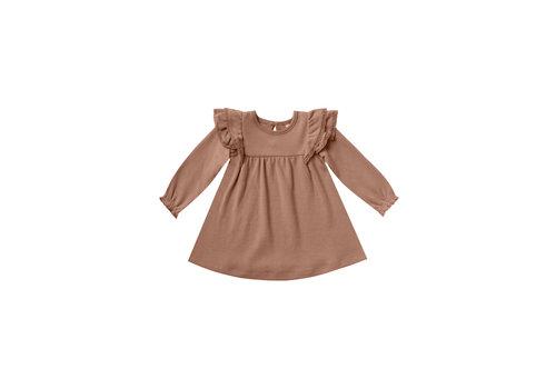 Quincy Mae Longsleeve Flutter Dress Clay
