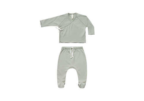 Quincy Mae Kimono Top + Footed Pant Set Sage