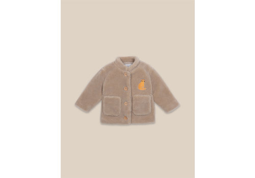 BOBO CHOSES Cat Patch Sheepskin Jacket Brown Rice