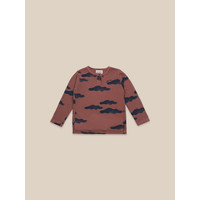 Clouds All Over Buttoned T-shirt Mahogany