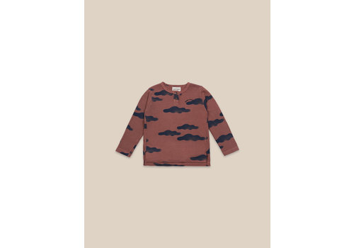 BOBO CHOSES Clouds All Over Buttoned T-shirt Mahogany