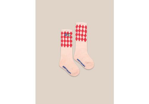 BOBO CHOSES Diamonds Long Socks Cream Tan