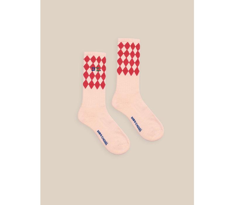 Diamonds Long Socks Cream Tan