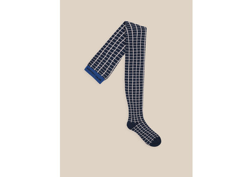 BOBO CHOSES Grid Tights Blue Indigo