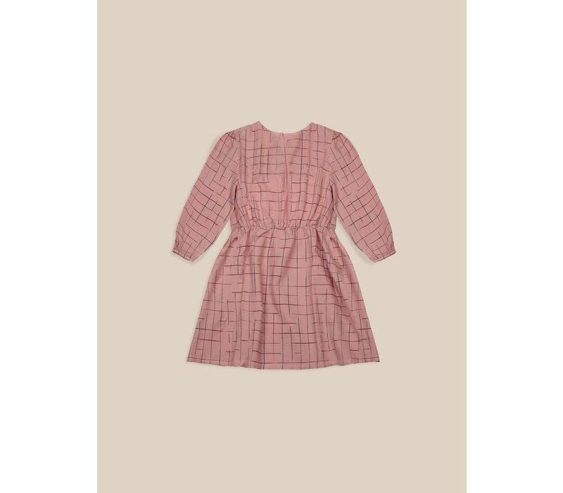 Grid Woven Dress Rose Tan
