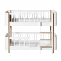 WOOD MINI+ LOW BUNK BED, WHITE/OAK