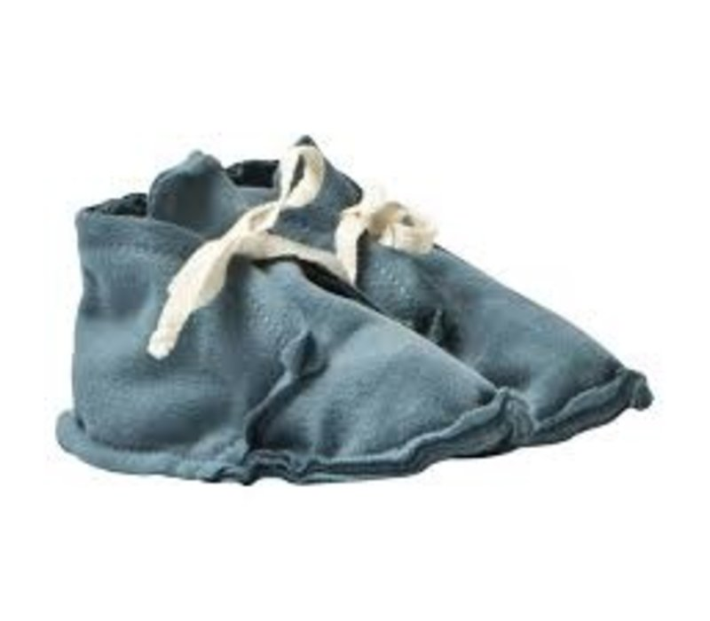 Baby Raw Edged Booties Blue Grey