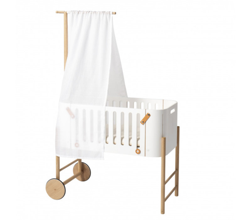 WOOD CO-SLEEPER INCL. BENCH CONVERSION, WHITE/OAK