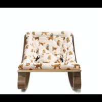 New LEVO Baby Rocker with Jaguar Cushion in Walnut or Beech