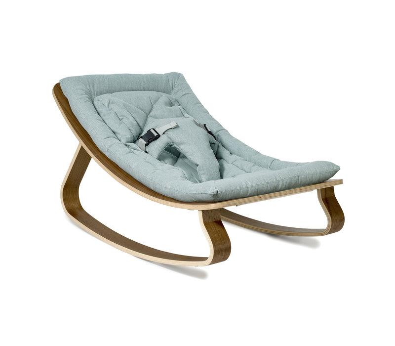 Baby Rocker LEVO with Aruba Blue cushion in Walnut or Beech