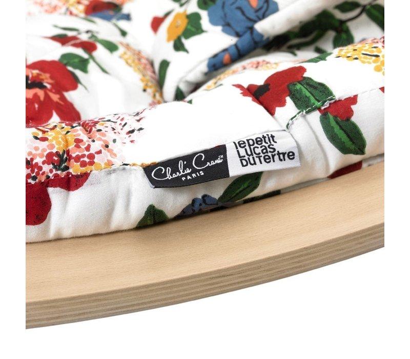 LEVO Baby Rocker with Hibiscus Cushion  in Walnut or Beech