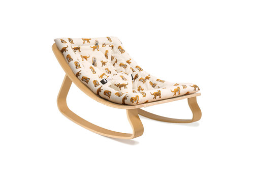 Charlie Crane New LEVO Baby Rocker with Jaguar Cushion in Walnut or Beech