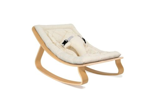 Charlie Crane New Baby Rocker LEVO with Organic White cushion in Walnut or Beech