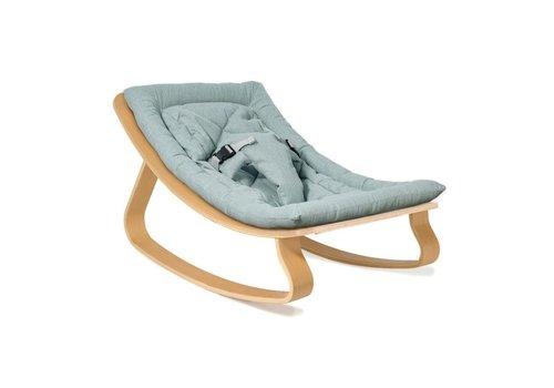 Charlie Crane Baby Rocker LEVO with Aruba Blue cushion in Walnut or Beech
