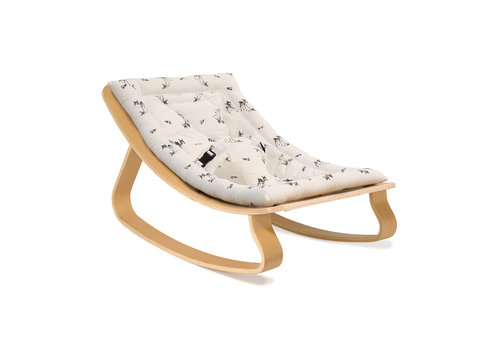 Charlie Crane New Baby Rocker LEVO with Rose in April Fawn Cushion in Walnut or Beech