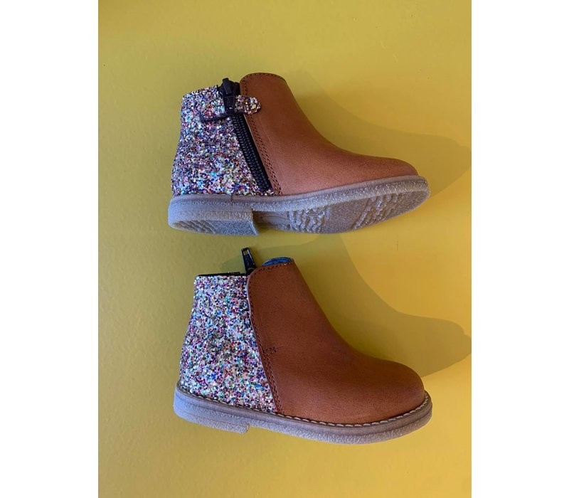 Leather boot congnac with multi color glitters