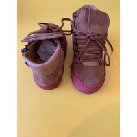 High-Top Sneakers in Brown Velour and Brown Elk Leather, Bordeaux detail