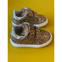 All over glitter sneakers met klittenband goud detail